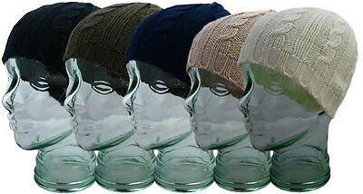 New Ladies Cable Knitted Beanie Hat in Various Colours Winter Warm BNWT