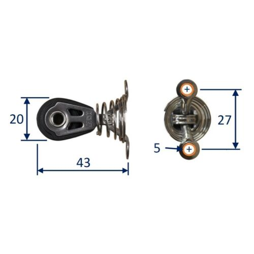 Dinghy Sailing Pulley Block On Sprung Saddle Holt HT2020 20mm Stainless Bearing