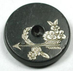 "Antique Horn Button w Silver Arrow & Flowers Inlay Design - 11/16"""