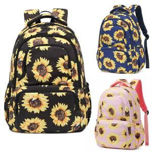 Womens Girl Sunflower School Backpack Teens Bookbag Shoulder Bag Travel Rucksack