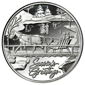 (2018) Christmas Horse and Sleigh 1 oz Silver Round Season's Greetings SKU56043