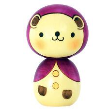 Japanese Usaburo Kawaii Bear w/ Purple Hood Kokeshi Wooden Doll, Made in Japan