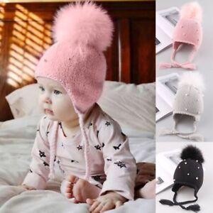 Kids Child Baby Girls Pearl Braid Beanie Hat Winter Warm Knit Fur ... d5b43a5f317