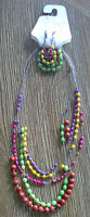 (nwt) Hannah Accents Bright Multi Colored Earing & Intertwined Necklace Set