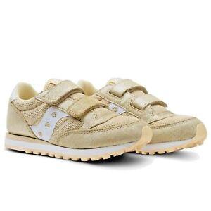 Dettagli su Scarpe Da Bambina Saucony Jazz SK161218 beige oro Sneakers Strappo Satinato
