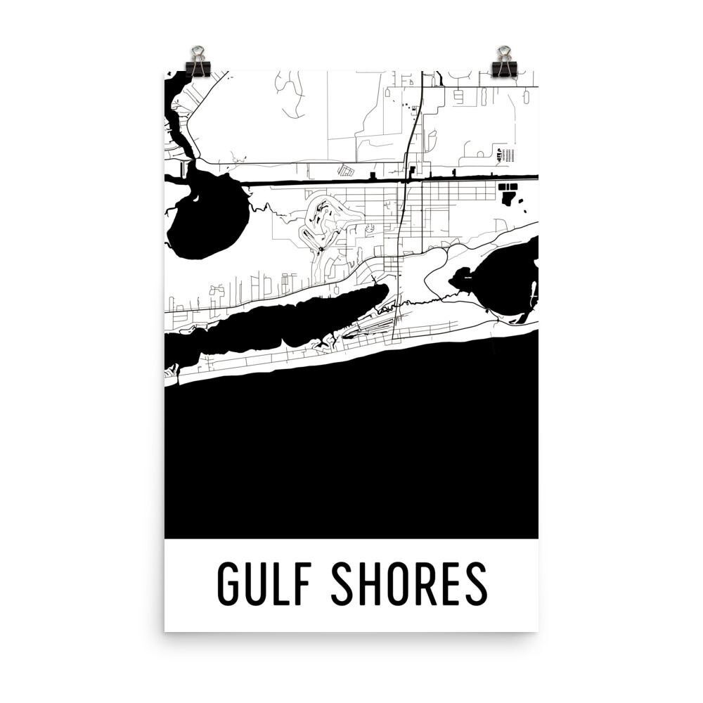 Gulf Shores AL Street Map Poster
