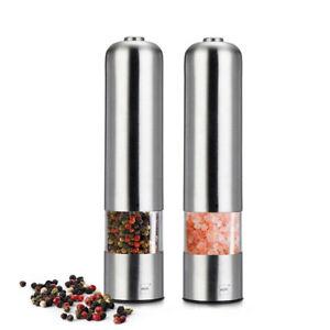 2stk.Elektrische Salz Und Pfeffermühlen Salzmühle Pfeffermühle Gewürzmühle