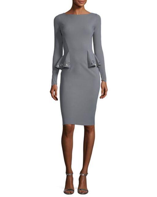b78363b78f9 NWT Chiara Boni La Petite Robe Gervaise Long-Sleeve Peplum Dress Stone 12   695