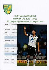 RICKY van WOLFSWINKEL NORWICH CITY 2013-2016 ORIGINAL HAND SIGNED PHOTOGRAPH