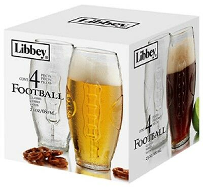 Libbey 23-Ounce Football Tumbler Beer Glass Set, 4-Piece Model  2233S4 NEW