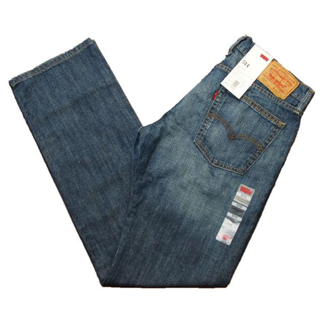 Levis 514 Jeans Straight Fit Mens Blue Collar 0266 266 Wisker Wash Levi's Denim