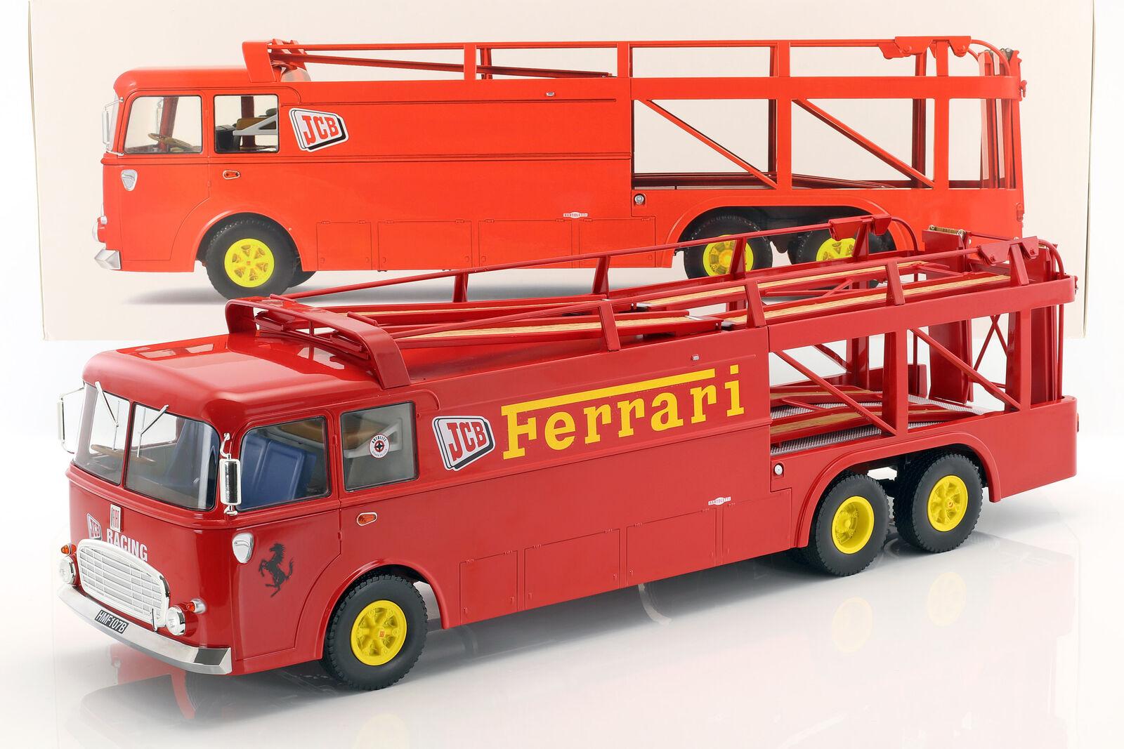 Fiat Bartoletti 306 2 Renntransporter Ferrari JCB Racing rot 1 18 Norev  | Starke Hitze- und Abnutzungsbeständigkeit