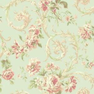 Wallpaper-Rococco-Floral-French-Acanthus-Leaf-Scroll-Flowers-Pearl-Seafoam-Green