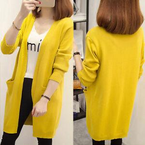 Women-039-s-Winter-Long-Sleeve-Loose-Knitted-Sweater-Jumper-Cardigan-Outwear-Coat-YJ