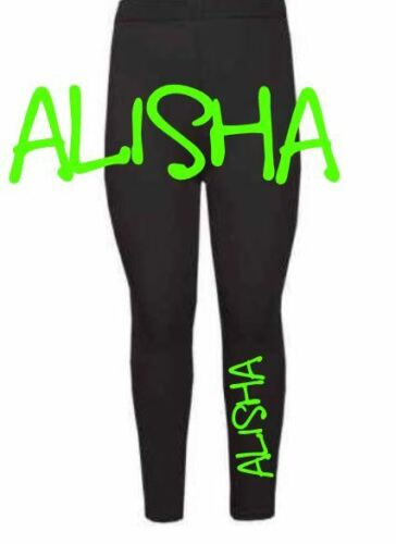 Personalised girls print leggings any name baby toddler dance class gym