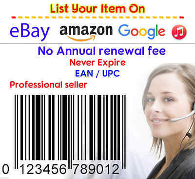 1000 UPC EAN Codes Number Barcode Printable for Amazon Ebay Lifetime Guarantee