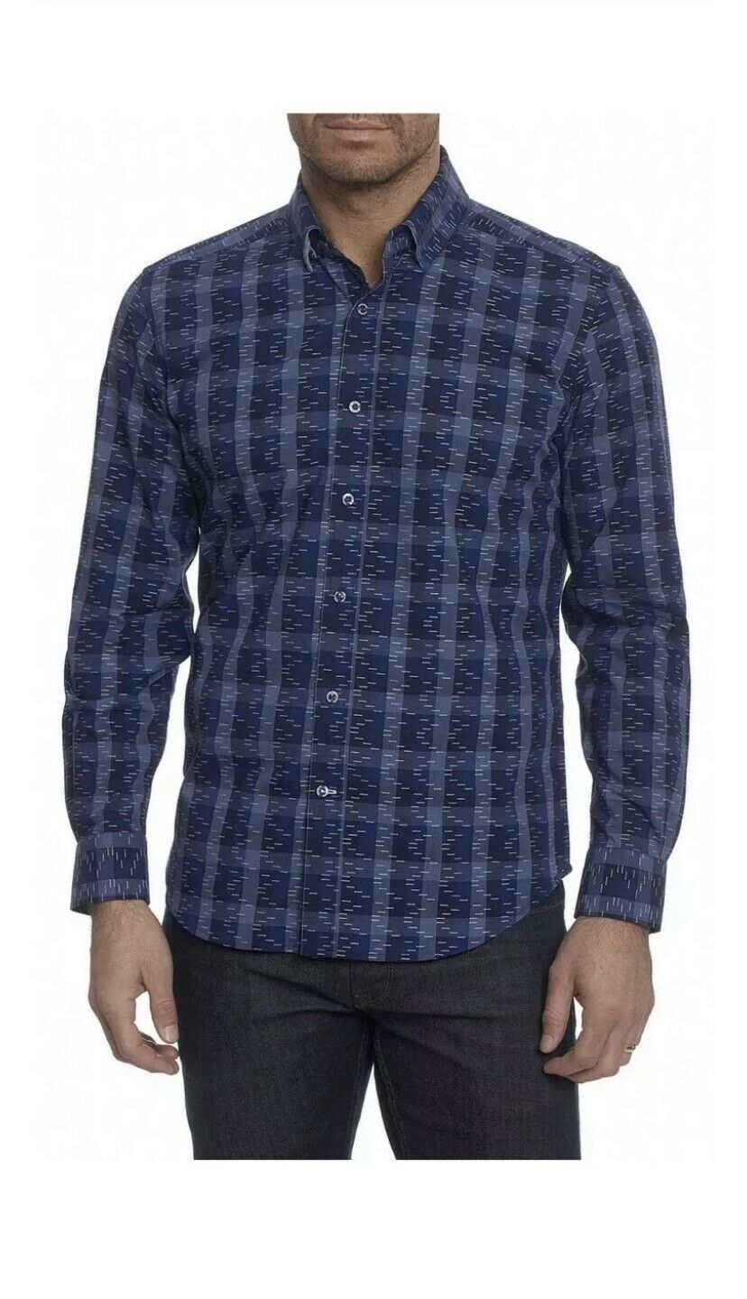 ROBERT GRAHAM LAVY TAILORED FIT NAVY LONG SLEEVE BUTTON SHIRT Size L