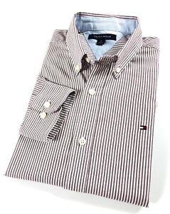 TOMMY-HILFIGER-Shirt-Men-s-Oxford-Brown-White-Stripe-Slim-Fit-Long-Sleeves