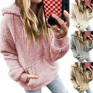 Details zu Damen Kapuzenpullover Teddyfell Sweatshirt Pulli Hoodie Winter Fleece Sweater DE