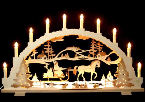 Schwibbogen Santa Claus with Horse 70cm Large LED vorbeleuchtung Erzgebirge