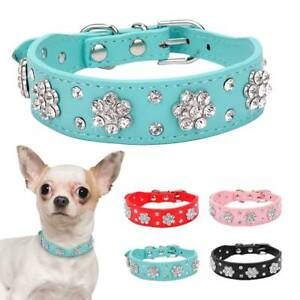 Pet-Puppy-Rhinestone-Flower-Cat-Dog-Crystal-Bling-Collar-PU-Leather-Necklace-New
