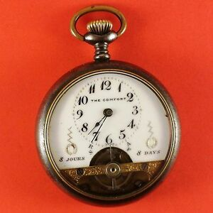 Vintage-034-The-Comfort-034-Swiss-Pocket-Watch-8-Days-Wind-16-Size-With-Fancy-Dial