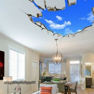 Blue-Sky-Clouds-Cracked-Ceiling-Wall-Decals-Removable-Stickers-Kids-Decor-50X70