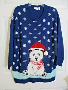 Ugly-Christmas-Sweater-Size-1X-Blue-Fuzzy-Polar-Bear-Cub