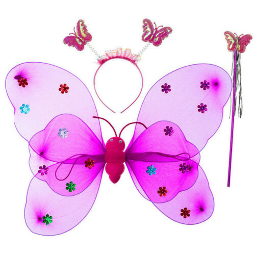 Girls Kids Fairy Wings Butterfly Fancy Dress Up Costume Party Pretend Play Set