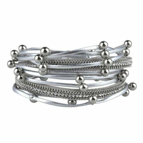 Handmade Boho Hommes Femmes multicouche en cuir Wrap Bracelet Fermoir Magnétique Bijoux