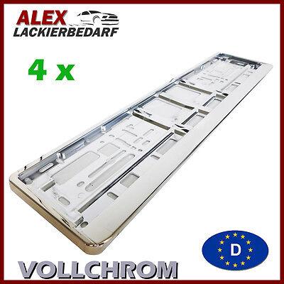 4 x Kennzeichenhalter CHROM Nummernschildhalter Kennzeichenhalterung VOLLCHROM