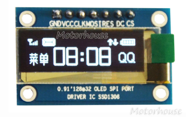 "0.91/"" SPI Serial 128*32 White OLED LCD Display Module 3.3-5V for Arduino UNO R3"