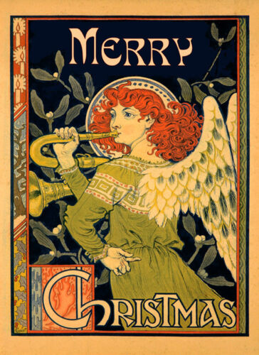 Merry Christmas Angel Music Fine Vintage Poster Repro FREE S//H in USA