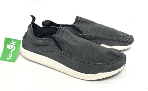 Sanuk Chiba Quest Canvas Sidewalk Surfers Black or Grey Gray 1091089 Slip On