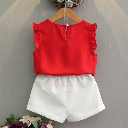 2PCS Toddler Kids Baby Girl Chiffon Shirt Tops+Shorts Pants Outfits Clothes Set
