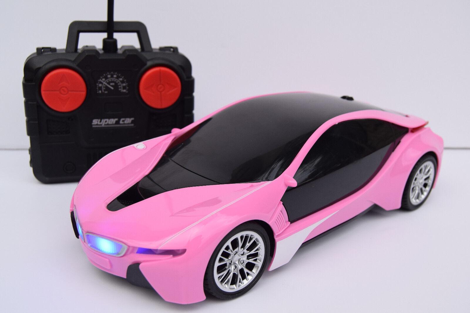 JEFFREE PINK BMW i8 RADIO REMOTE CONTROL CAR GIRLS SPORTS CAR 1 16 LIGHTS