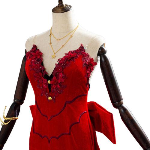 Final Fantasy VII Remake Aerith Aeris Gainsborough Cosplay Costume Red Dress