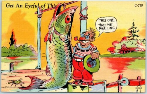 "Vintage Fishing Comic Postcard ""Get an Eyeful of This"" Giant Fish Linen 1949"