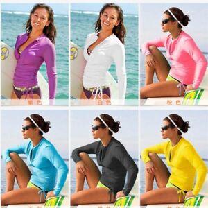Women-Long-Sleeve-Rashguard-Swim-Shirts-Swimwear-Lycra-Surfing-Top-UV-Protection