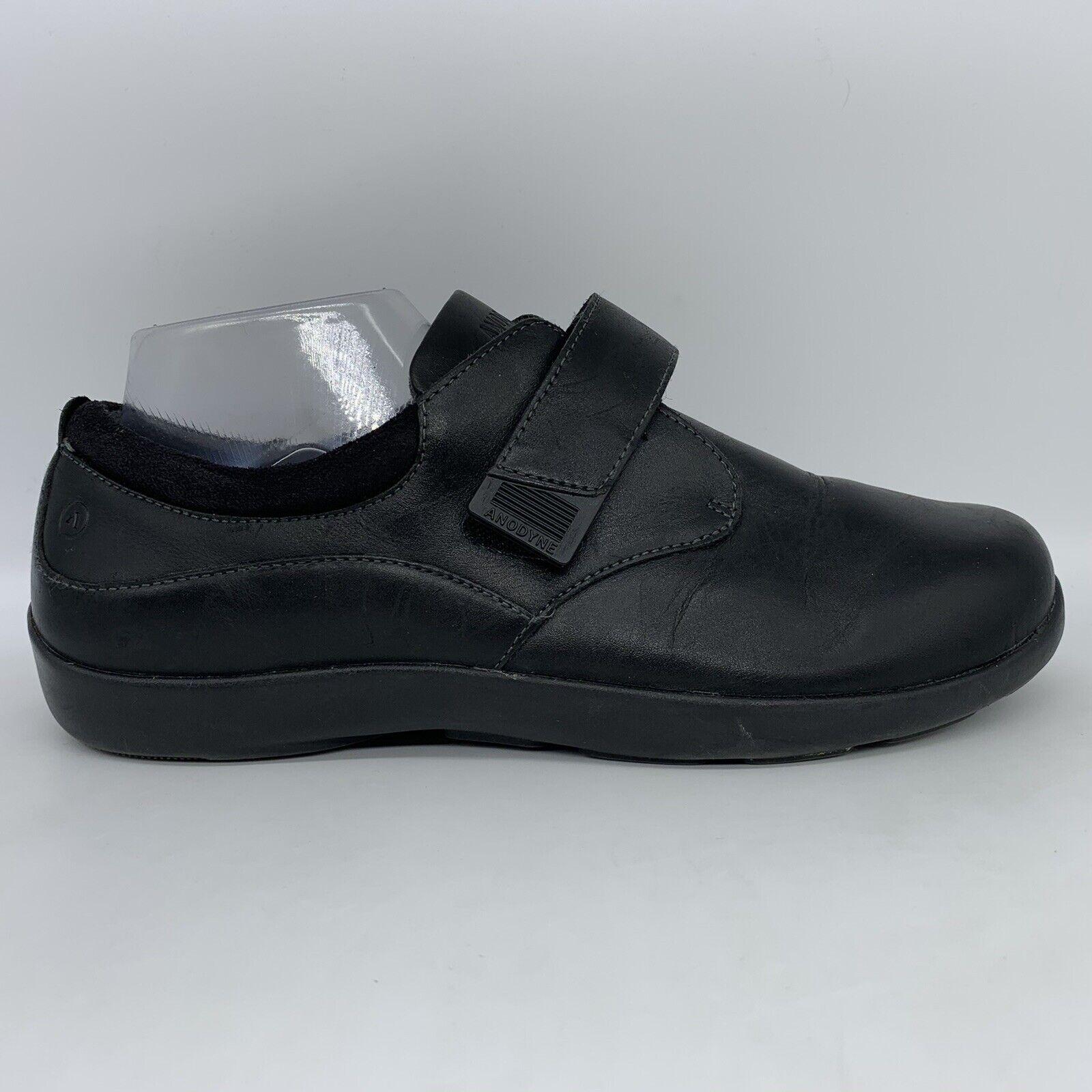 Anodyne No 67 Black Leather Diabetic Comfort Strap Shoes Women 9 W Wide