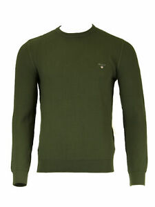 GANT-Moss-Green-Men-039-s-O1-Texture-Cotton-Crew-86571-NWT