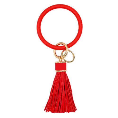 Tassel Silicone Keyring Bracelet Bangle Keychain Wristlet Car Key Chain Key Ring