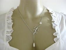 ♥ Räumungsverkauf Trachtenkette Perlen creme silber Kette Dirndl Trachtenschmuck