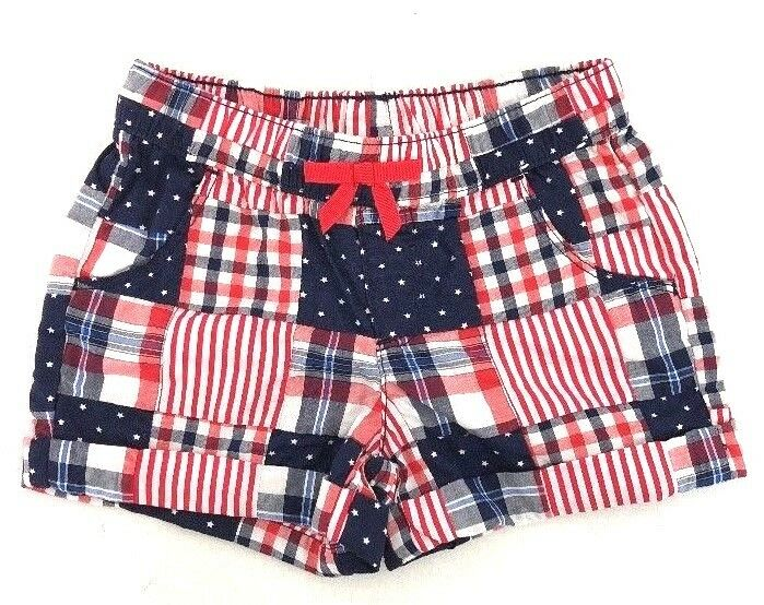 [I2] Gymboree Patriotic Little Midi Shorts Red White Blue Patchwork Girl's 5 NWT