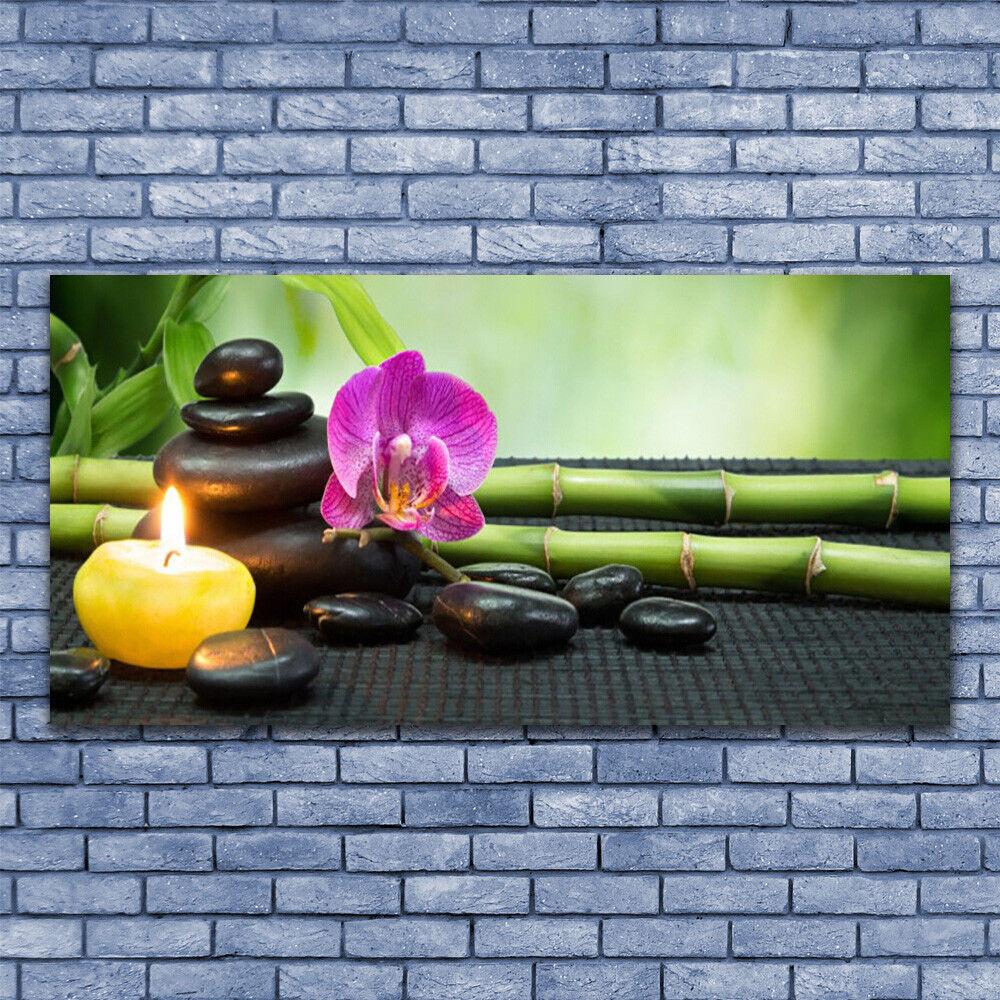 Leinwand-Bilder Wandbild Leinwandbild 140x70 Bambus Blaume Steine Kerze Spa
