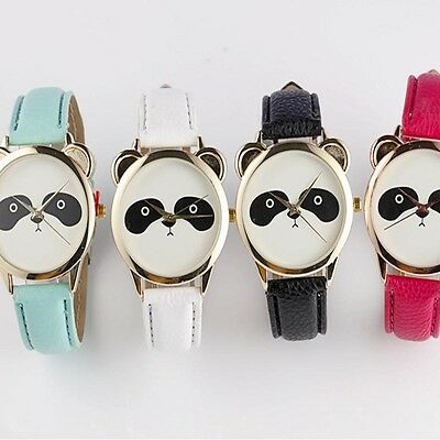 NEW Fashion Neutral Women Watches Diamond Lovely Panda Faux Leather Quartz Watch