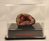 Bcw Ballqube Fossil Mineral Geode Amethyst W/ Acrylic & Mirror Base Display Case