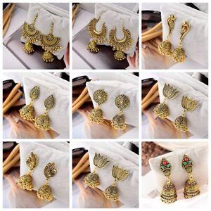 Vintage-Bohemian-Style-Gold-Silver-Earrings-Indian-Hook-Drop-Bell-Women-Earrings