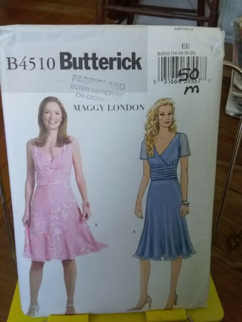 Oop Butterick Maggy London 4510 misses lined dress raised waist sz 14-20 NEW