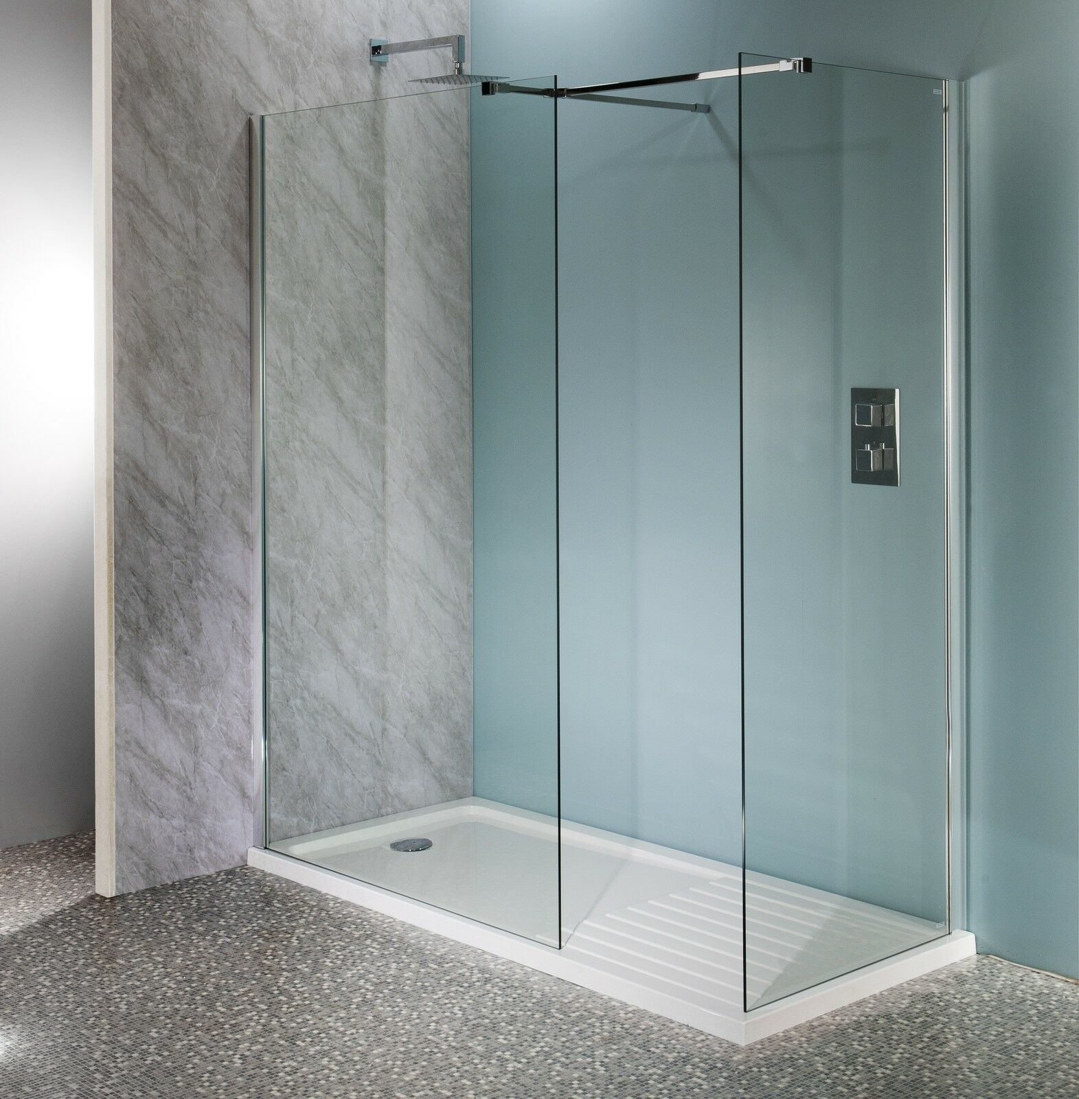 600mm walk in shower enclosure wet room easyclean 10mm for Walk in shower tray